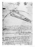 Design For a Flying Machine, Folio 74V 143, c.1488 Giclée-Druck von  Leonardo da Vinci