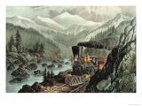 The Route to California. Truckee River, Sierra Nevada. Central Pacific Railway, 1871 Giclee-trykk av Currier & Ives,