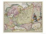 Karte von Kleinasien: Norvegen, Schweden, Dänemark, Lapland, Polen, Türkei, Russland and Moscow, c.1626 Giclée-Druck von Nicolas Visscher