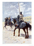Saracen Approaches a Crusader Knight, The Talisman: A Tale of the Crusaders, Sir Walter Scott Giclée-Druck von Simon Harmon Vedder