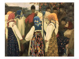 Lad Has Wormed His Way Into the Girl's Round Dance, 1902 Giclee Print by Andrei Petrovich Ryabushkin