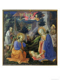 Adoration of the Child with Ss. Hilary, Jerome, Mary Magdalene and Angels Giclée-tryk af Fra Filippo Lippi
