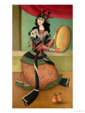 Dancing Girl with a Tambourine, Qajar School Giclée-tryk