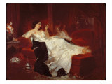 Woman on a Red Sofa Giclee Print by Eugene Louis Lami