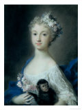 Girl Holding a Monkey Giclee Print by Carriera Rosalba