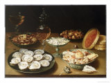 Still Life with Oysters, Sweetmeats and Roasted Chestnuts Giclée-Druck von Osias The Elder Beert