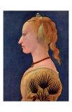 Portrait einer Dame in Gelb Kunst af Alesso Baldovinetti