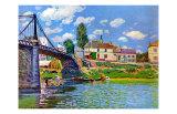 Brucke von Villeneuve La Garenne Bridge 高品質プリント : アルフレッド・シスレー