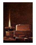 Kerze und Bucher Candlelight Study Print by Georges de La Tour