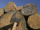 Close-up of an Axe Cutting into a Log Against a Blue Sky Photographic Print