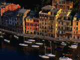 Boats in Harbour with Buildings, Portofino, Liguria, Italy Photographic Print by Stephen Saks