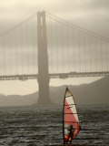 Windsurfer Sails Through Waters on San Francisco Bay, San Francisco, California, USA Photographic Print by Lawrence Worcester