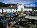 Market Held on Plaza Mayor with Parish Church in Background, Villa De Leyva, Boyaca, Colombia Photographic Print by Krzysztof Dydynski