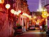 Narrow Street in Chinatown Decorated with Lanterns, Melaka, Malaysia Photographic Print by Tom Cockrem
