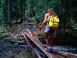 Hikers Crossing a Stream Near Rio Trampas, Pecos Wilderness, New Mexico, USA Lámina fotográfica por Roberto Gerometta