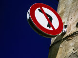 No Left Turn Sign, Roses, Catalonia, Spain Photographic Print by Martin Lladó