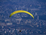 Paraglider Above the City, Maribor, Stajerska, Slovenia Photographic Print by Martin Moos