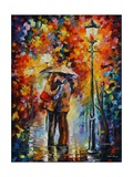 Kiss Under The Rain Poster di Leonid Afremov