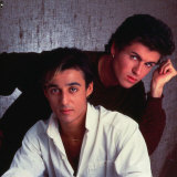 Wham, George Michael and Andrew Ridgeley, March 1986 Reproduction photographique