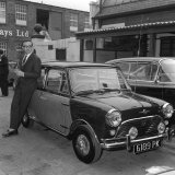 Peter Sellers at the Hooper Works in Kilburn London and His Mini Cooper, May 1963 Photographic Print