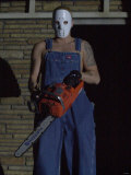 Eminem Rap Star in Concert at London Arena, Wearing a Mask and Holding a Chainsaw, February 2001 Fotografisk tryk