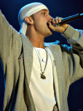 Eminem Singing on Stage at the Gig on the Green Festival at Glasgow Green, August 2001 Fotografisk tryk