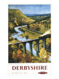 Derbyshire, England - Monsal Dale, Train and Viaduct British Rail Poster 高画質プリント : ランターン・プレス