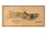 Hawaii - Panoramic Molokai Island Map Posters av  Lantern Press