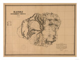 Hawaii - Panoramic Kauai Island Map Posters av  Lantern Press