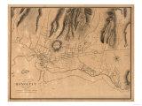 Hawaii - Panoramic Map of Honolulu Kunst av  Lantern Press