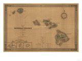 Hawaii - Panoramic State Map 高品質プリント : ランターン・プレス