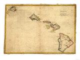 Hawaii - Panoramic State Map 高画質プリント : ランターン・プレス