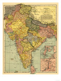 India - Panoramic Map Kunstdrucke von  Lantern Press