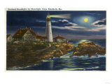 Cape Elizabeth, Maine - Moonlit View of the Portland Head Lighthouse Poster by  Lantern Press