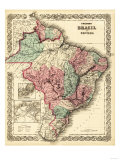Brazil and Guayana - Panoramic Map Premium Giclee-trykk av  Lantern Press