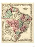 Brazil and Guayana - Panoramic Map Print by  Lantern Press