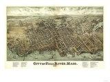 Fall River, Massachusetts - Panoramic Map Kunst av  Lantern Press
