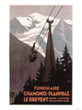 Chamonix Mont-Blanc, France - Funiculaire Le Brevent Cable Car Poster Art by  Lantern Press