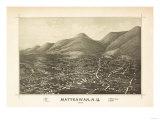Beacon, New York - Panoramic Map Kunst av  Lantern Press