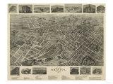 Bristol, Virginia - Panoramic Map Premium Giclee-trykk av  Lantern Press