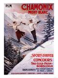 Chamonix Mont-Blanc, France - Skiing Promotional Poster Kunstdrucke von  Lantern Press