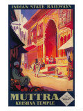 India - Muttra Krishna Temple Travel Poster 高画質プリント : ランターン・プレス