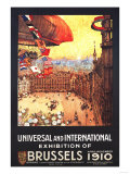 Brussels, Belgium - Lebaudy Airship with World Flags at Expo Poster von  Lantern Press