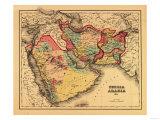 "Middle East ""Persia Arabia"" - Panoramic Map Kunstdruck von  Lantern Press"