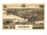Newport News, Virginia - Panoramic Map Premium Giclee-trykk av  Lantern Press