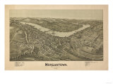 Morgantown, West Virginia - Panoramic Map Poster av  Lantern Press