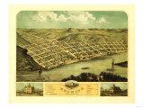 Red Wing, Minnesota - Panoramic Map Premium Giclee-trykk av  Lantern Press