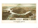 Norfolk, Virginia - Panoramic Map Premium Giclee-trykk av  Lantern Press