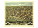 Mount Vernon, Ohio - Panoramic Map Plakat av  Lantern Press