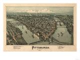 Pittsburgh, Pennsylvania - Panoramic Map Plakater av  Lantern Press